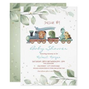 Train Dinosaurs Drive By Baby Shower Invitation