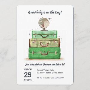 Travel Baby Shower Green Invitation Card