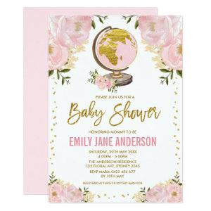 Travel Girl Baby Shower Pink Gold Floral Adventure Invitation