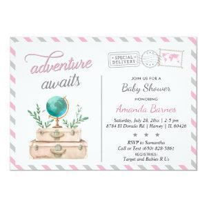 Travel Suitcase Baby Girl Shower Adventure Awaits Invitation