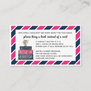 Travel Theme Book instead of Card Insert Navy Pink
