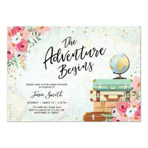 Travel themed Baby shower invite Adventure Begins
