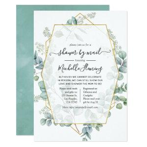 Trendy Eucalyptus Geometric Baby Shower by Mail Invitation