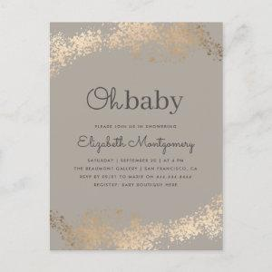 Trendy  Minimalist Greige & Gold Oh Baby Shower Invitation Postcard