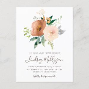 Trendy Modern Blush Watercolor Floral Baby Shower Invitation Postcard