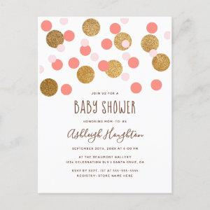 Trendy Pink and Gold Funky Confetti Baby Shower Invitation Postcard