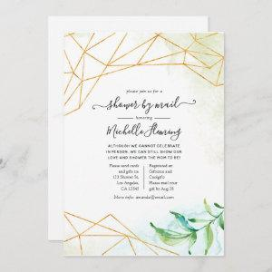 Trendy Watercolor Geometric Baby Shower by Mail Invitation