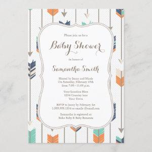 Tribal Arrows Baby Shower Navy Orange Teal Invitation