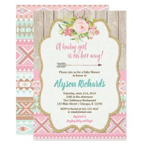 Tribal baby shower girl invitations pink gold teal