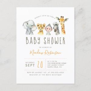 Tribal Jungle Animals Modern Elephant Baby Shower Invitation Postcard