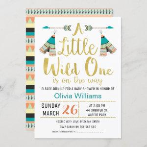 Tribal Little One Faux Gold Baby Shower