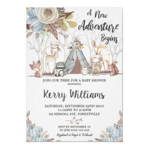 Tribal Woodland Animals Baby Shower Baby Boy Invitation