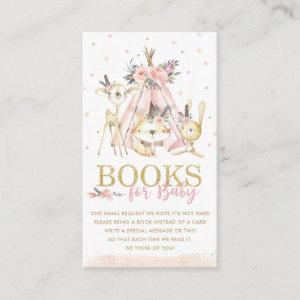 Tribal Woodland Animals Pink Floral Books for Baby Enclosure Card