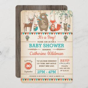Tribal Woodland Baby Shower Rustic Forest Animals