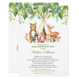 Tribal Woodland Virtual Baby Shower Mail Greenery Invitation