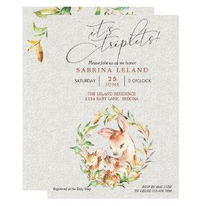 Triplets Baby Shower Deer Fawns in Leafy Wreath Invitation