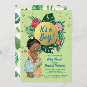Tropical baby boy couples shower green gold