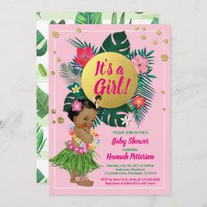 Tropical baby girl couples shower pink gold