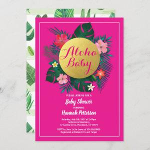 Tropical baby girl shower  hot pink