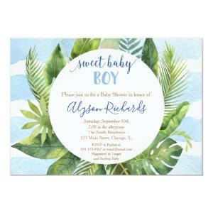 Tropical baby shower boy, sweet baby boy greenery invitation