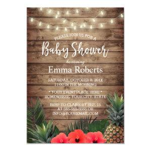 Tropical Baby Shower Pineapple & String Lights Invitation