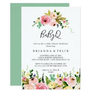 Tropical Colorful Fall BabyQ Baby Shower Barbecue Invitation
