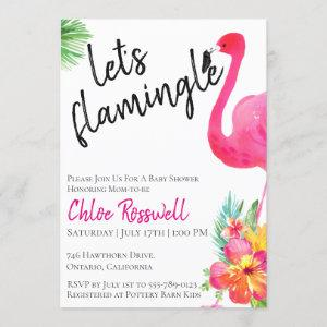 Tropical Flamingle Baby Shower Invitation