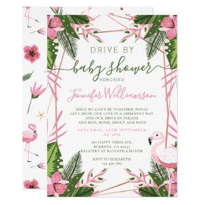 Tropical Flamingo Drive By Baby Shower Invitation