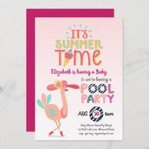 Tropical Flamingo POOL Party Pink Blue Quirky Fun Invitation