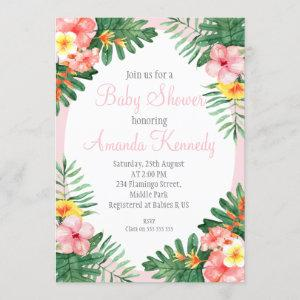 Tropical Floral Baby Shower Invitation For Girl