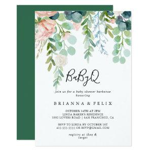 Tropical Floral BabyQ Baby Shower Barbecue Invitation