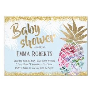 Tropical Floral Pineapple Gold Glitter Baby Shower Invitation