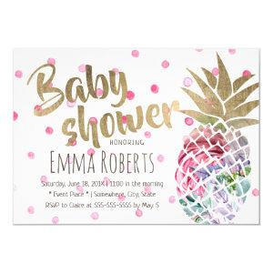 Tropical Floral Pineapple Polka Dots Baby Shower Invitation