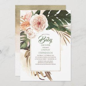 Tropical Flowers and Dried Palm Leaf Baby Shower