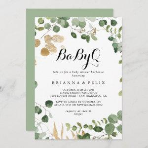 Tropical Gold Green BabyQ Baby Shower Barbecue  Invitation