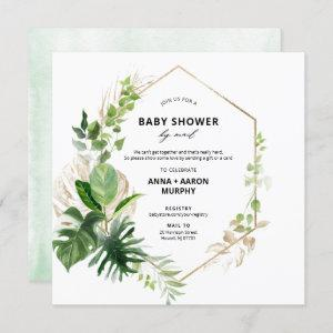 Tropical Green and Gold Frame Baby Shower by Mail Invitation