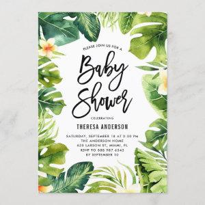 Tropical Greenery and Plumeria Baby Shower