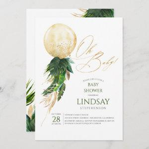 Tropical Greenery Palm Leaves Gold Balloon Oh Baby
