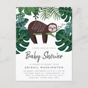 Tropical Greenery Sleeping Sloth Baby Shower Invitation Postcard