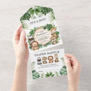 Tropical Jungle Safari Animals Boy Baby Shower All In One