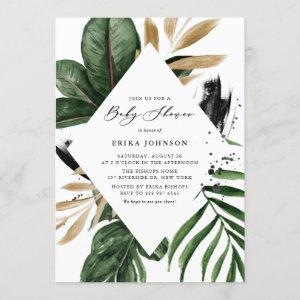 Tropical Leaves Faux Gold Foil Frame Baby Shower