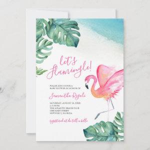 Tropical Leaves Flamingo Baby Shower