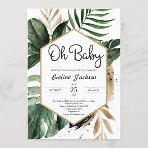 Tropical Leaves Oh Baby Shower Invitation Greenery