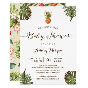 Tropical Leaves Pineapple Summer Baby Shower Invitation