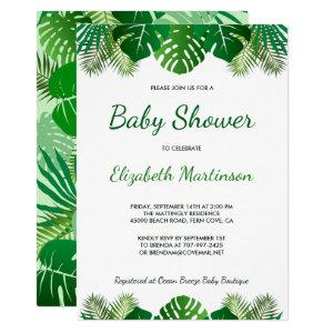 Tropical Leaves Rainforest Foliage Baby Shower Invitation