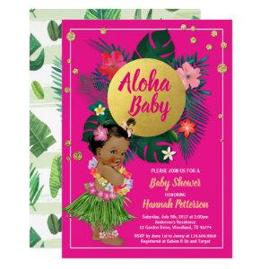 Tropical luau baby girl shower invitation hot pink