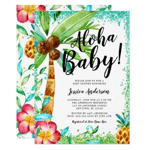Tropical Luau Watercolor Faux Glitter Baby Shower Invitation