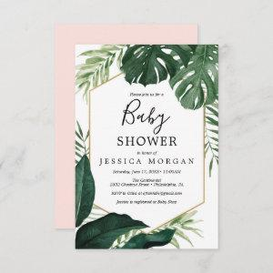 Tropical Monstera Baby Shower  Card