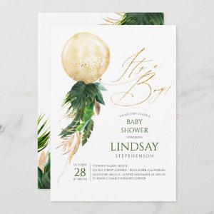 Tropical Palm Leaves Gold Balloon Boy Baby Shower Invitation
