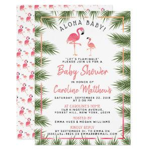 Tropical Palms Watercolor Flamingo Baby Shower Invitation